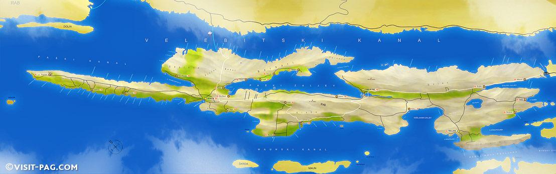 Insel Pag Karte